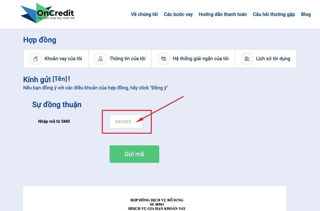 hướng dẫn gia hạn khoản vay trên OnCredit