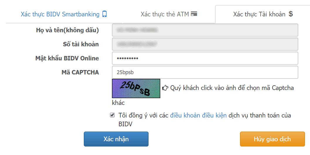 Thanh toán tiền vây trên OnCredit bằng tài khoản cá nhân