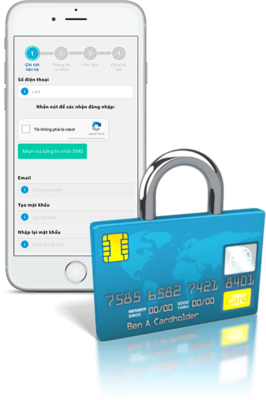 Smartphone and padlock-like bank card